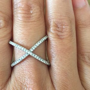 Cocktail thin faux diamond and silver ring